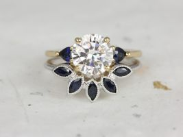 Rosados Box Elise 8mm & Petunia 14kt Yellow Gold Round Forever One Moissanite Sapphire Pear 3 Stone Wedding Set