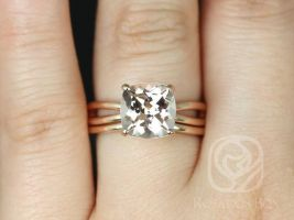 Rosados Box Ready to Ship Lacy 9mm 14kt Rose Gold Cushion Morganite Infinity Split Shank Solitaire Wedding Set Rings