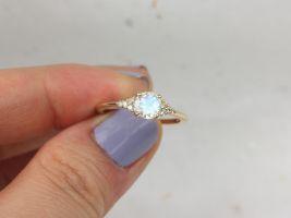 Ready to Ship Malia 6mm 14kt Gold Rainbow Moonstone Sapphire Diamonds Dainty Round 3 Stone Cluster Ring,Rosados Box