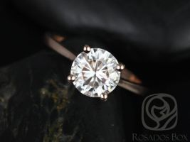 Ready to Ship Skinny Flora 7.5mm 14kt Rose Gold Forever One Moissanite Cathedral Round Solitaire Engagement Ring,Rosados Box