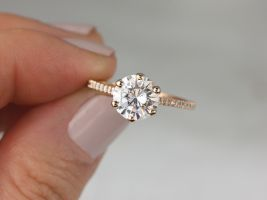 Rosados Box 2ct Dora 8mm 14kt Rose Gold Forever One Moissanite Diamonds Pave 6 Prong Dainty Round Solitaire Engagement Ring