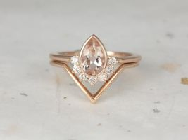 Rosados Box Oana 8x5mm & Femme 14kt Rose Gold Pear Morganite and Diamonds Bezel Crescent Sunrays Chevron Wedding Set