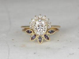 Rosados Box Oksana 8x6mm & Petunia 14kt Yellow Gold Oval F1- Moissanite Diamonds Alexandrite Bezel Crescent Sunrays Wedding Set