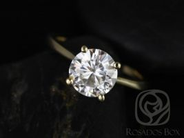 Ready to Ship Skinny Flora 8mm 14kt Yellow Gold Forever One Moissanite Dainty Petite Cathedral Round Solitaire Engagement Ring,Rosados Box