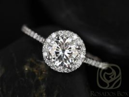 Rosados Box Ready to Ship Kubian 6mm 14kt White Gold Round Forever One Moissanite Diamonds Round Halo Engagement Ring