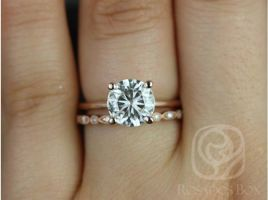 Rosados Box Ready to Ship Skinny Alberta 8mm & Gwen 14kt WHITE Gold Round Forever One Moissanite Diamond Wedding Set