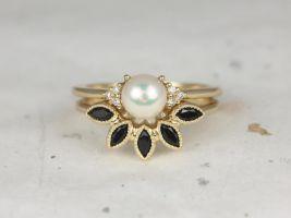 Rosados Box Mio 6mm 14kt Yellow Gold Pearl Sapphire Onyx Cluster 3 Stone Wedding Set