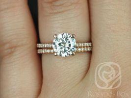 Rosados Box Ready to Ship Eloise 7.5mm 14kt WHITE Gold Round F1- Moissanite and Diamonds Classic Wedding Set