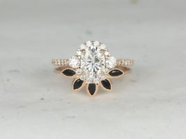 Rosados Box Bridgette 8x6mm & Petunia 14kt Rose Gold Oval Forever One Moissanite Diamonds Onyx Halo Wedding Set