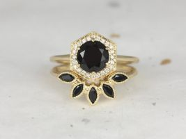 Rosados Box Willis 7mm & Petunia 14kt Yellow Gold Round Black Onyx Diamonds Hexagon Halo WITH Milgrain Wedding Set