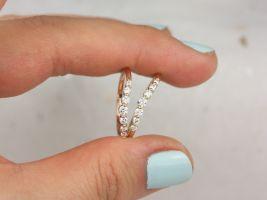 Rosados Box Nova 14kt Rose Gold Diamonds Single Prong Minimalist Tiara Crown Nesting Ring