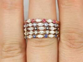 Rosados Box Petite Cher 14kt Gold Marquise Round Diamond Sapphire Floating Prong HALFWAY Eternity Band Ring