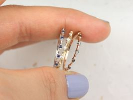 Rosados Box Boney 14kt Solid White Gold Blue Sapphire Single Prong Floating Dainty Thin HALFWAY Eternity Band Ring