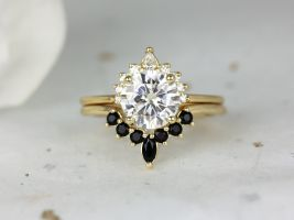 Rosados Box 2ct Kylie 8mm & Marjorie 14kt Solid Gold Forever One Moissanite Diamond Onyx Dainty Art Deco Round Unique Wedding Set Rings