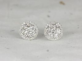 Rosados Box Danice Studs 14kt White Gold 1ct Round Diamonds Cluster Halo Stud Earrings