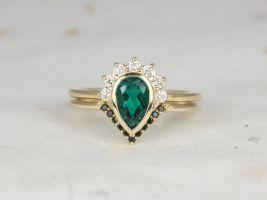 Rosados Box Oana 8x5mm & Venus 14kt Yellow Gold Pear Emerald Diamonds Sapphire Bezel Crescent Half Halo Wedding Set