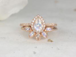 Rosados Box Tabitha 7x5mm & Petunia 14kt Rose Gold Rainbow Moonstone Diamonds Dainty Art Deco Micropave Pear Halo Wedding Set Rings