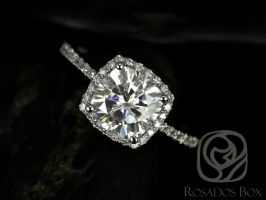 Rosados Box Randi 7.5mm 14kt White Gold Cushion F1- Moissanite and Diamond Halo Engagement Ring