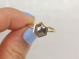 Rosados Box Petra 14kt Solid Gold Rose Cut Hexagon Rustic Salt Pepper Dainty Geometric Diamond Ring