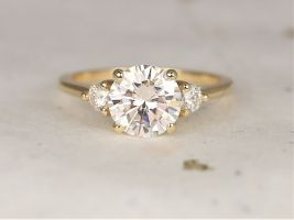 Rosados Box 2ct Colette 8mm 14kt Solid Gold Forever One Moissanite Diamonds Dainty Minimalist 3 Stone Round Engagement Ring