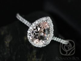Rosados Box Ready to Ship Tabitha 8x6mm 14kt White Gold Pear Morganite  and Diamonds Halo Engagement Ring