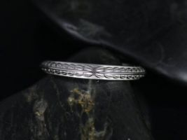 Rosados Box Ready to Ship Gilda 14kt ROSE Gold Vintage Engraved Leaves True Thin Knife Edge ALMOST Eternity Band