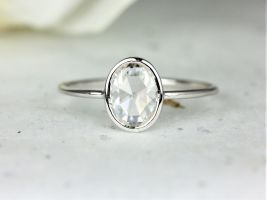 Rosados Box Paris 8x6mm 14kt White Gold Oval Rose Cut Forever One Moissanite Dainty Minimalist Bezel Solitaire Ring