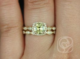 Rosados Box Ready to Ship Christie 1.05cts 14kt Yellow Gold Round Lemon Yellow Sapphire Diamonds Halo Wedding Set