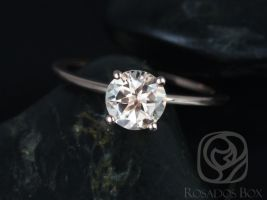 Rosados Box Ready to Ship Skinny Alberta 7mm 14kt WHITE Gold Round Morganite Tulip Solitaire Engagement Ring