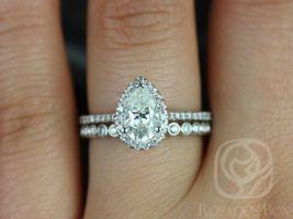 SALE Rosados Box Ready To Ship Tabitha 8x5mm & Petite Bubbles 14kt White Gold Pear FB Moissanite and Diamonds Halo Wedding Set