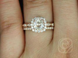 Rosados Box Ready to Ship Fluffy Christie 1.19cts & Callie 14kt Rose Gold Peach Sapphire Diamonds Cushion Halo Wedding Set