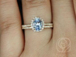 Rosados Box Ready to Ship Rebecca 1.07cts 14kt Rose Gold Icy Blue Sapphire and Diamonds Oval Halo Wedding Set