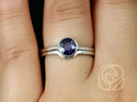Rosados Box Ready to Ship Ida 0.74cts 14kt White Gold Round Rose Cut Blue Sapphire WITH Milgrain Bezel Wedding Set