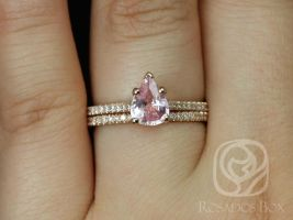 Rosados Box Ready to Ship Ann 1.09cts 14kt Rose Gold Pear Peach Blush Sapphire and Diamonds Cathedral Classic Wedding Set