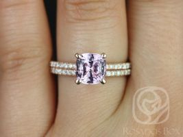 Rosados Box Ready to Ship Heidi 2.10cts 14kt Rose Gold Cushion Purplish Pink Spinel and Diamond Basket Classic Wedding Set