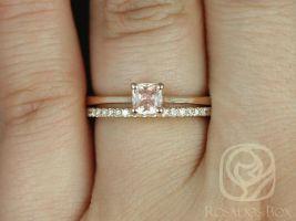 Rosados Box Ready to Ship Gallina 0.45cts & DIA Barra 14kt Rose Gold Cushion Peach Champagne Sapphire Wedding Set