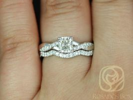 Rosados Box Ready to Ship Conflict Free Tressa 0.71ct 14kt White Gold Cushion Diamond Twist Wedding Set