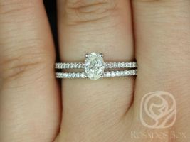 Rosados Box Ready to Ship Conflict Free Blake 0.50ct 14k White Gold Oval Diamond Wedding Set