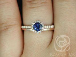 Rosados Box Ready to Ship Amanda 0.63ct & Plain Barra 14k Rose Gold Blue Sapphire and Diamond Wedding Set