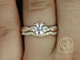 Rosados Box Ready to Ship Tressa 1.02cts 14kt Rose Gold Cushion Peach Champagne Sapphire and Diamond Twist Wedding Set