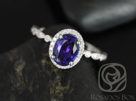 Rosados Box Gwen 8x6mm 14kt White Gold Oval Blue Sapphire and Diamonds Vintage Halo WITH Milgrain Engagement Ring