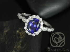 Rosados Box Jubilee 8x6mm 14kt White Gold Oval Blue Sapphire and Diamond Flower Petal Halo WITHOUT Milgrain Engagement Ring
