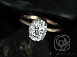Rosados Box Dakota 9x7mm 14kt Rose Gold Oval F1- Moissanite Thin Skinny Engagement Ring