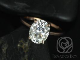 Rosados Box Bailey 10x8mm 14kt Rose Gold Oval Forever One Moissanite Thin Skinny Engagement Ring