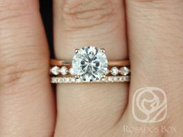 Rosados Box Skinny Flora 8mm, Cher, & Tabitha 14kt Rose Gold Round F1- Moissanite and Diamond Tulip Cathedral Solitaire TRIO Wedding Set
