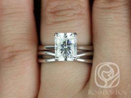 Rosados Box DIAMOND FREE Skinny Nancy 9x7mm & PLAIN Lima 14kt White Gold Radiant F1- Moissanite Wedding Set