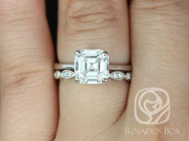 Rosados Box Skinny Denise 8mm & Christie 14kt White Gold Asscher F1- Moissanite and Diamonds Tulip Cathedral Solitaire Wedding Set