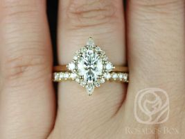 Rosados Box Maris 8x6mm 14kt Yellow Gold Oval F1- Moissanite and Diamonds Star Halo Wedding Set