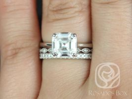 Rosados Box Skinny Denise 8mm, Ult Pte Leah, & Pernella  14kt White Gold Asscher F1- Moissanite and Diamonds Cathedral TRIO Wedding Set