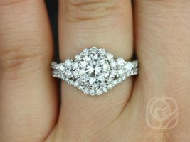 SALE Rosados Box Ready to Ship Amora 7mm 14kt White Gold Round FB Moissanite Diamonds Cluster Halo 3 Stone Wedding Set
